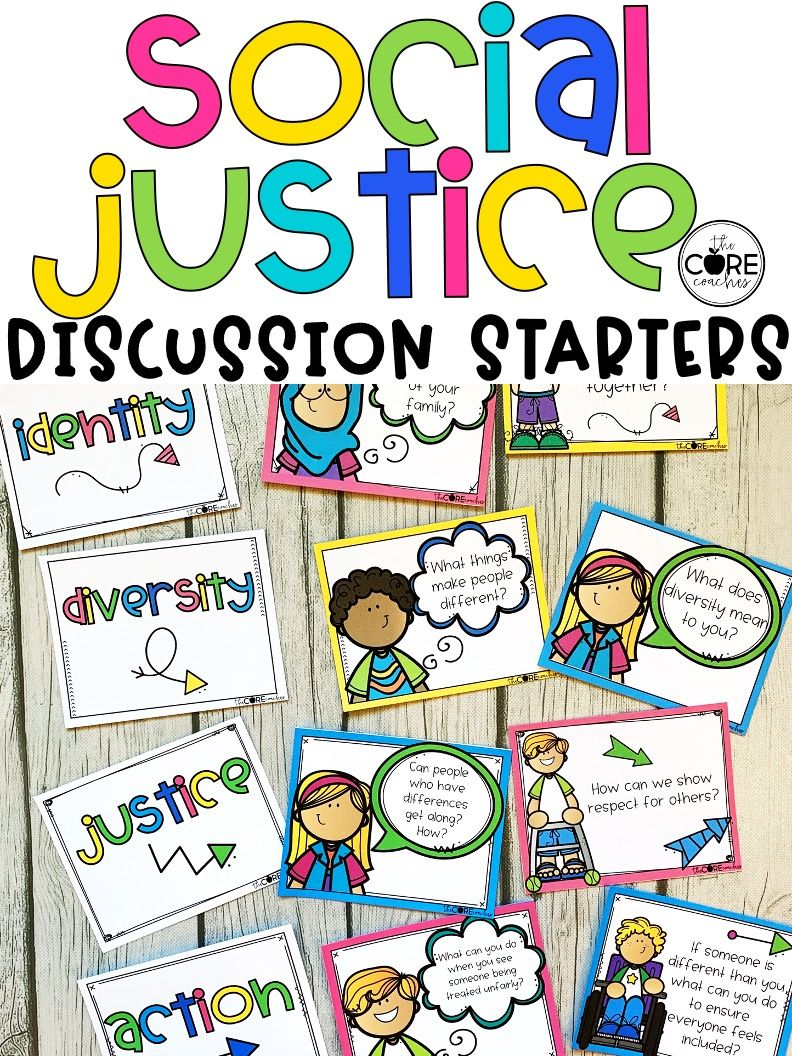 Diversity And Inclusion Prompt Cards K 6 Social Justice Discussion Starters Social Justice Discussion Starters Justice