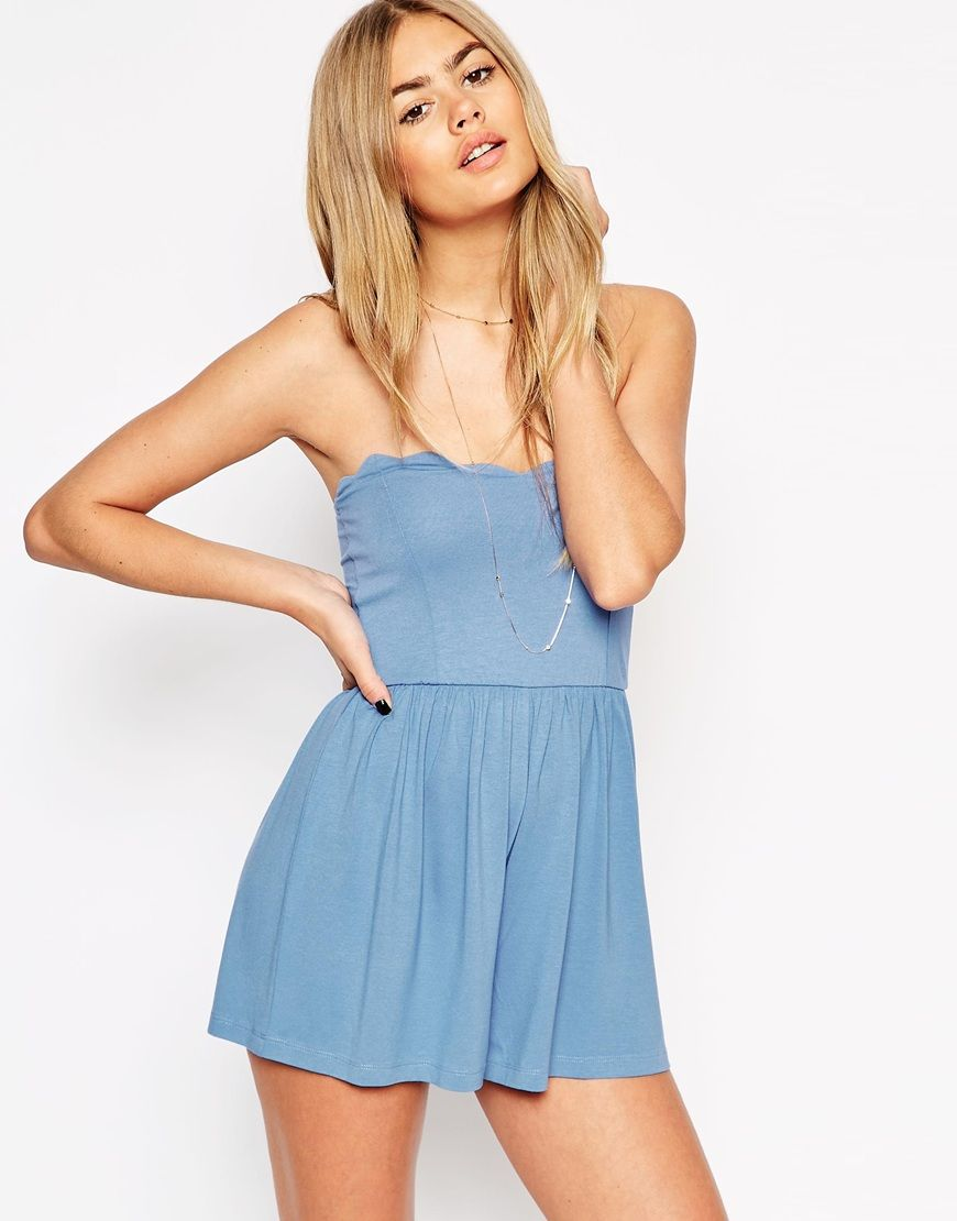 1c1d4aac190 ASOS Bandeau Playsuit with Scallop Edge