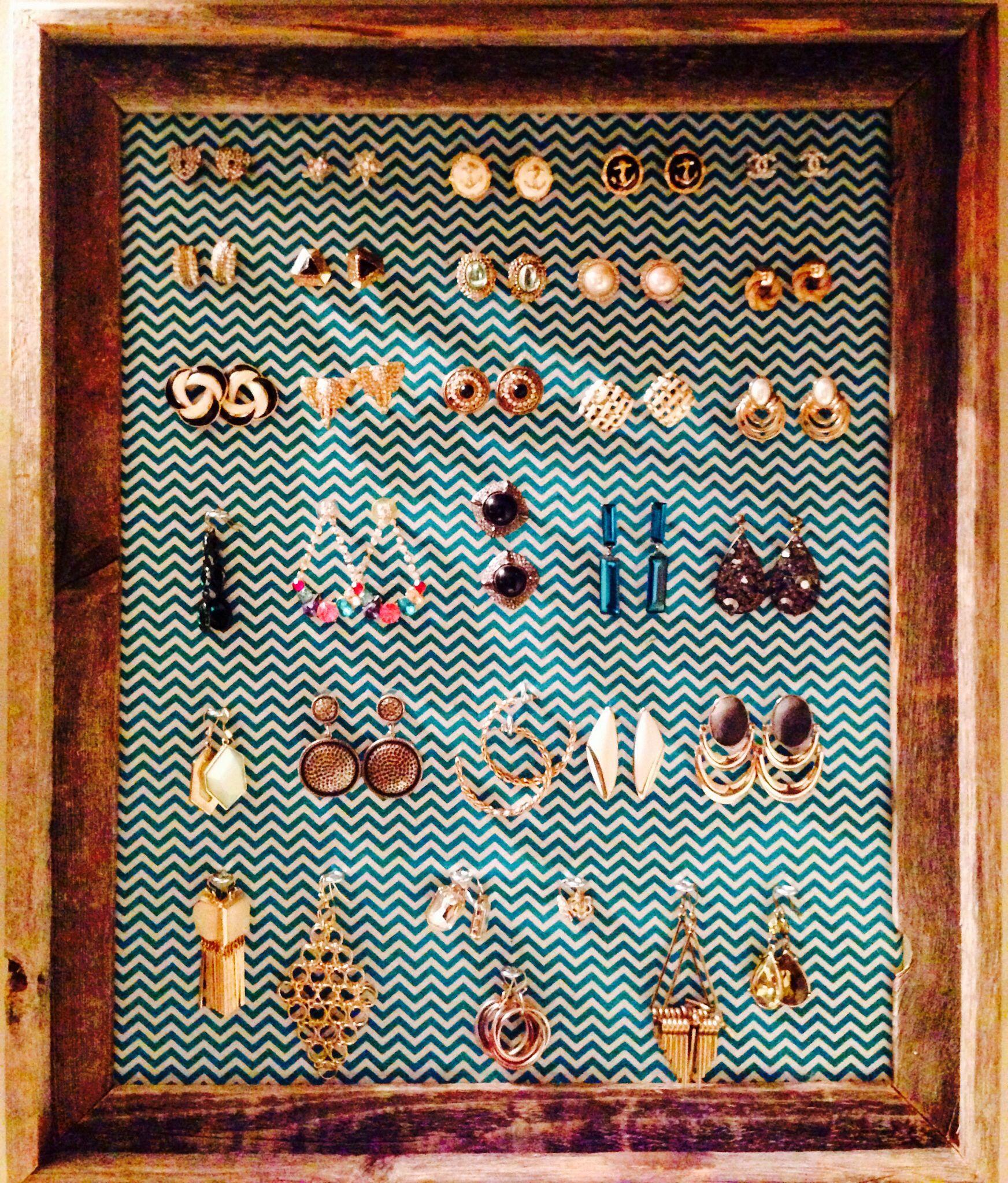 Framed Cork Board Earring Display