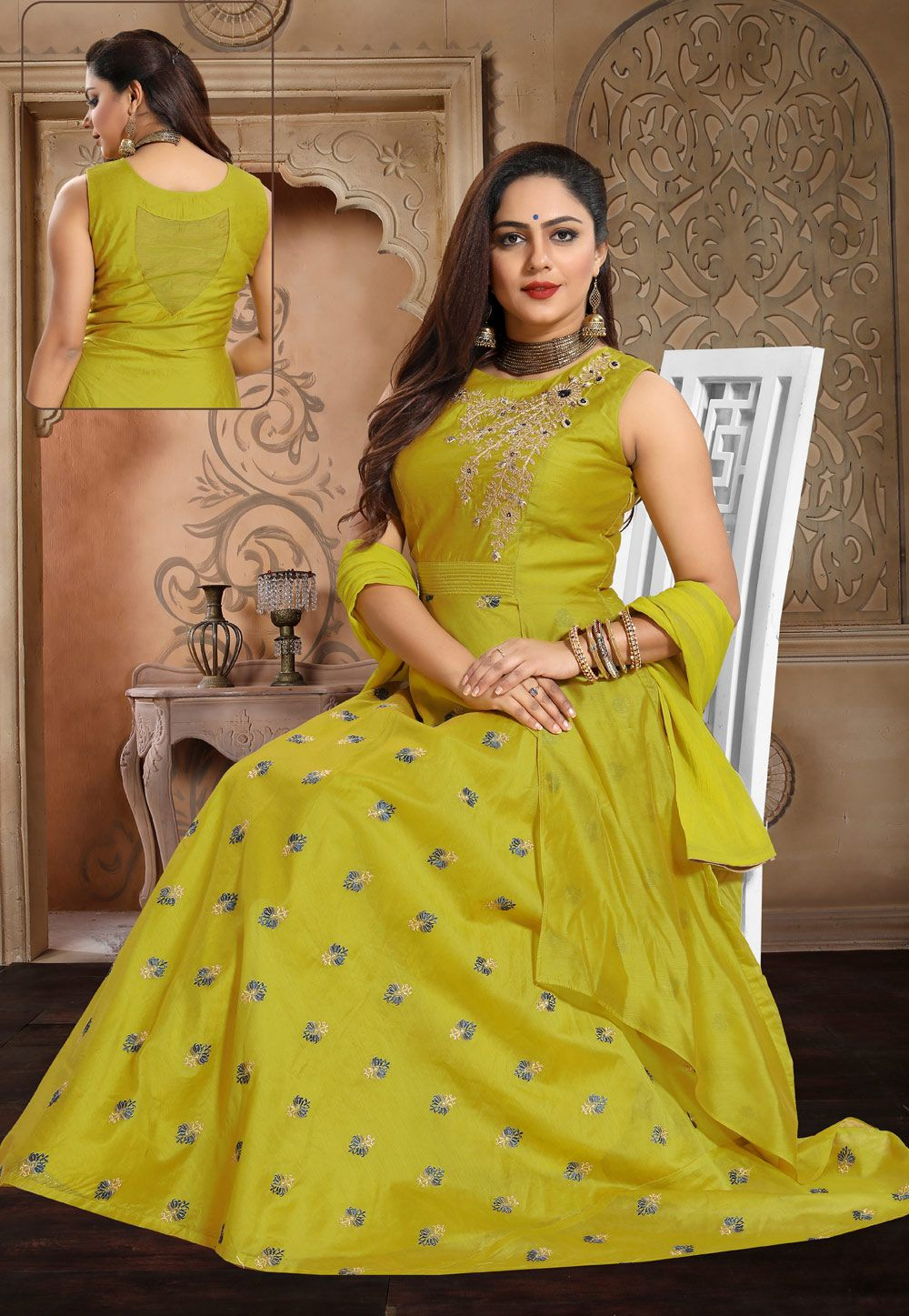 7acc01bcca3e Buy Green Chanderi Silk Readymade Long Anarkali Suit 154629 online at  lowest price from huge collection of salwar kameez at Indianclothstore.com.