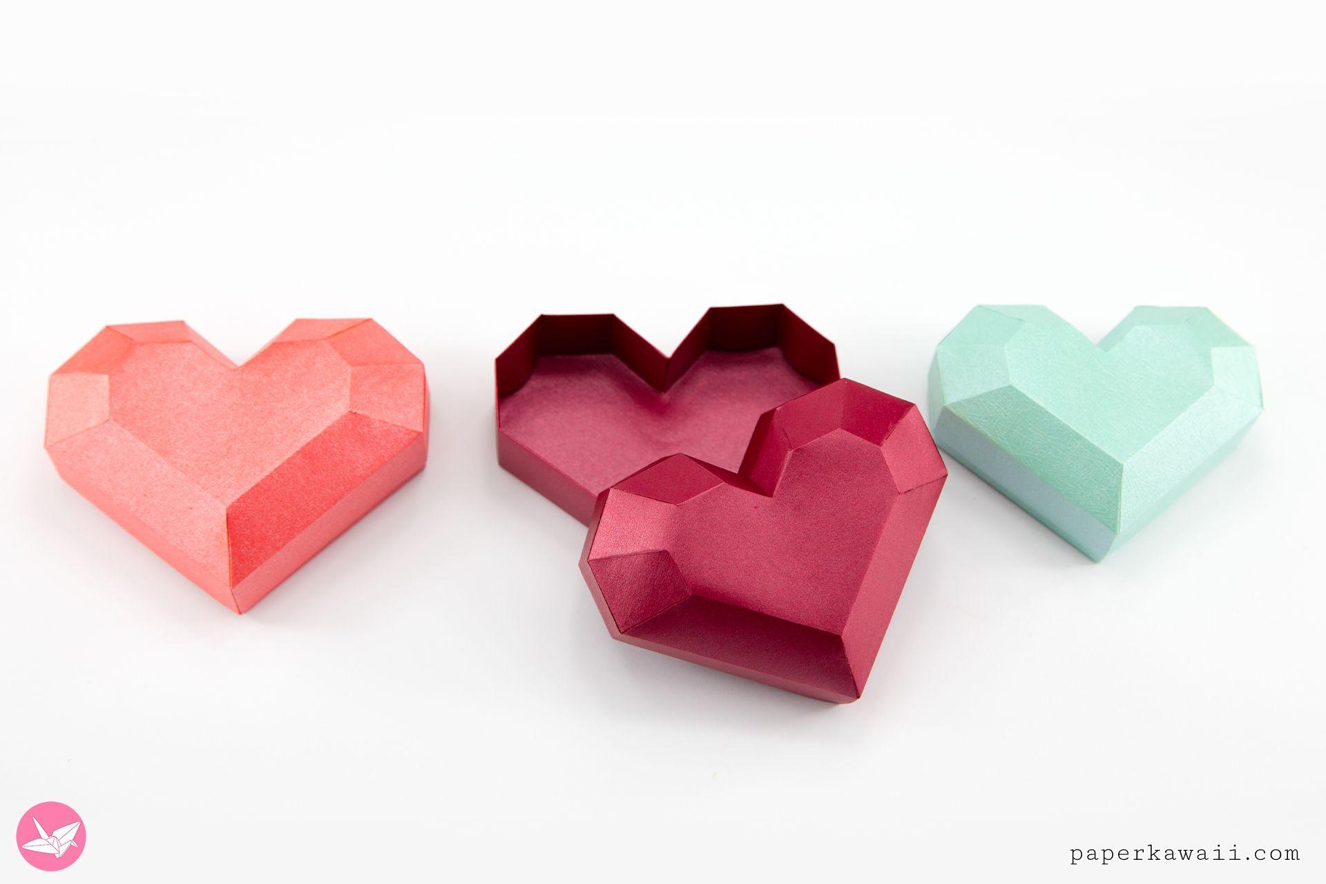 Paper Heart Box Tutorial Paper Kawaii Heart Gift Box Printable Gift Paper Hearts