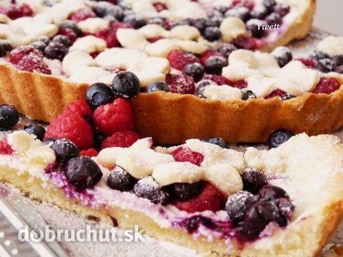 Fotorecept: Čučoriedkovo-malinový koláč z krehkého cesta