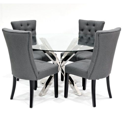 Metro Lane Khloe Dining Set With 4 Chairs Wayfair Co Uk Grey Dining Tables Glass Dining Set Glass Dining Room Table