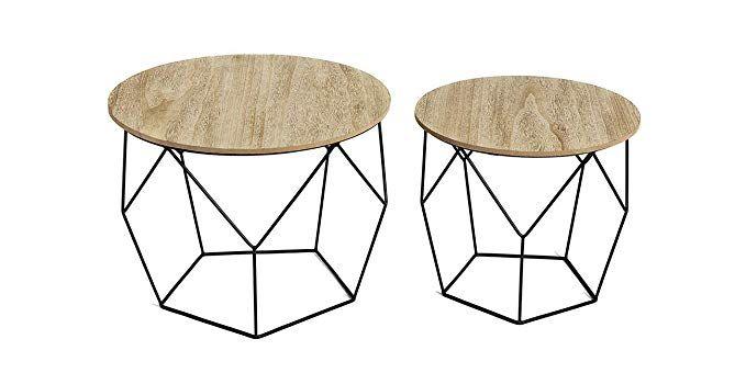 Lifa Living 2er Set Beistelltisch Aus Schwarzem Metall Und Einer Mdf Holz Platte Runde Couchtische Mit Korbfunktion Im Amazon Gadgets Fur Zuhause Table