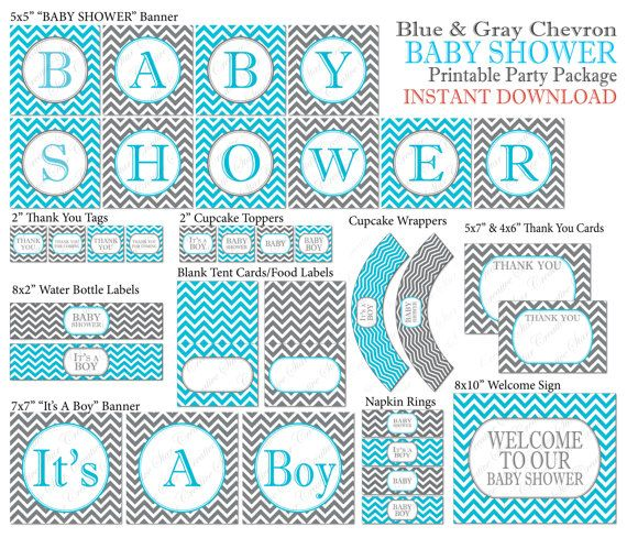 Instant Download Chevron Baby Shower Package Blue Gray