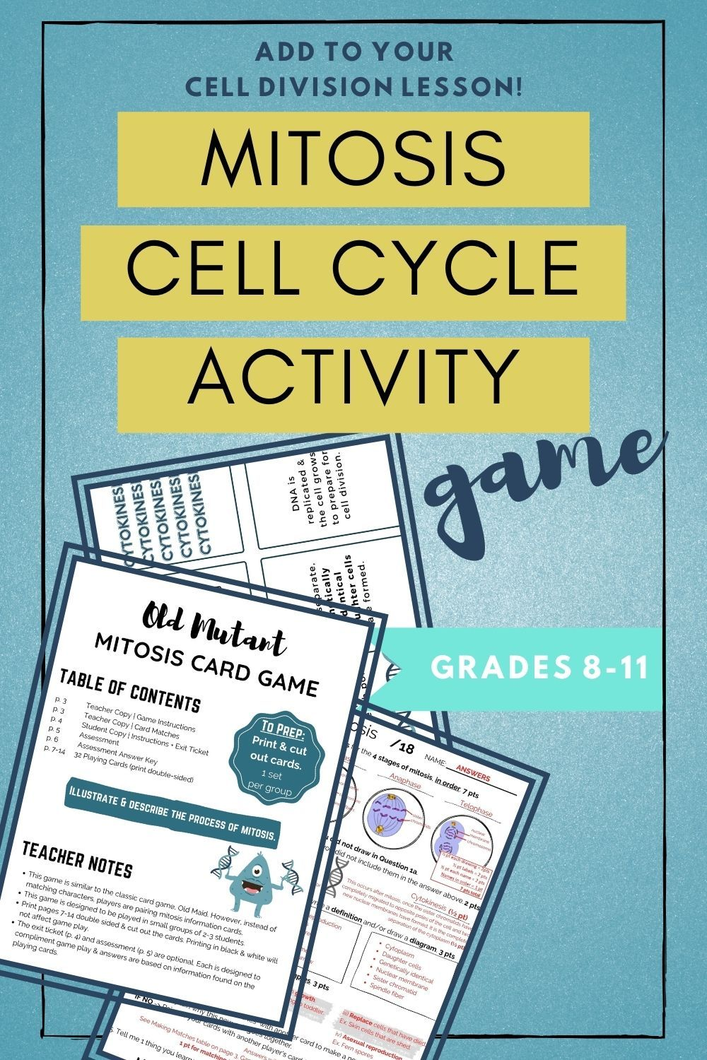 Mitosis Activity Cell Cycle Game In 2020 High School Science Activities Mitosis Mitosis Activity