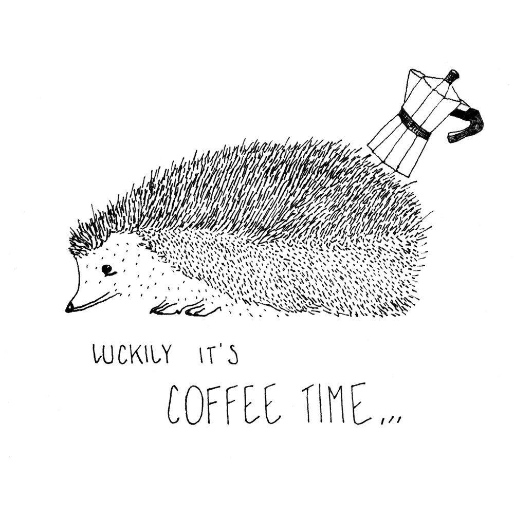 Best Print Art illustration Coffee time Wanddeko K chendeko Lustig Maulwurf Tiere Osterngeschenk schwarz wei Kaffee Handzeichnung
