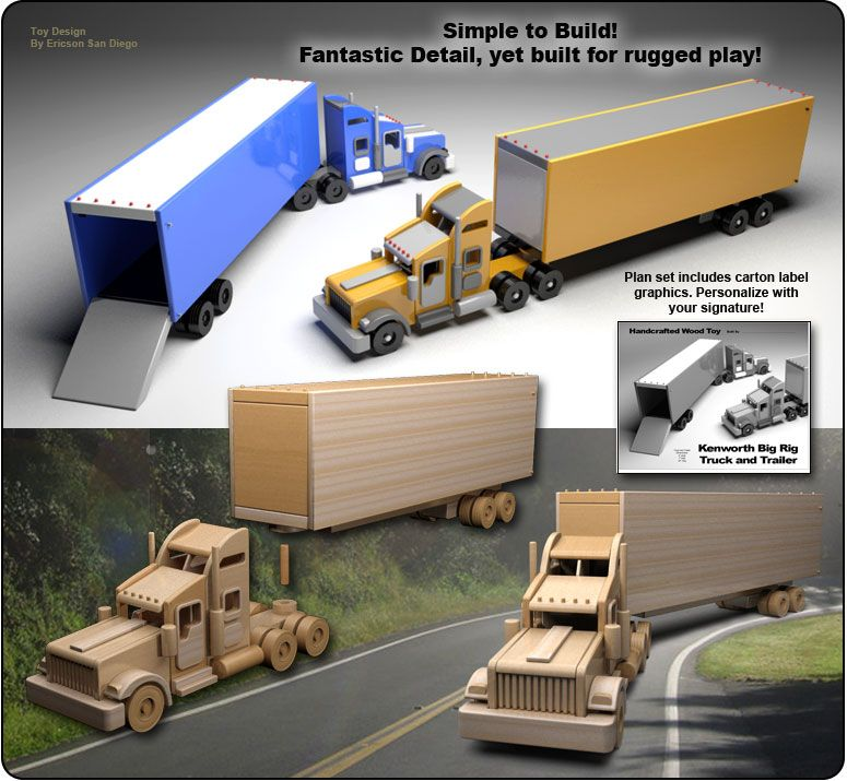Famous Kenworth Semi Truck Amp Trailer Wood Toy Plan Set