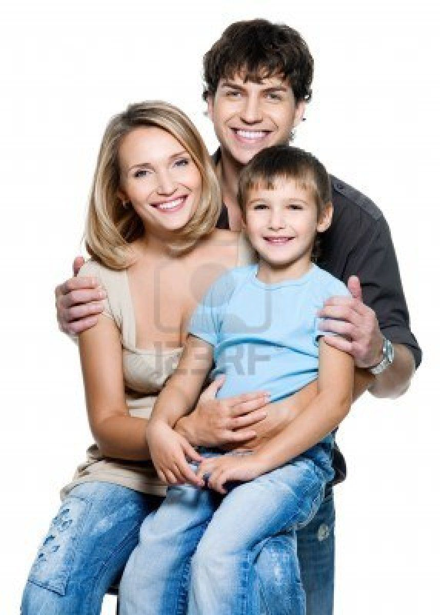 38d677aa221 Happy young family with pretty child posing on white background ...