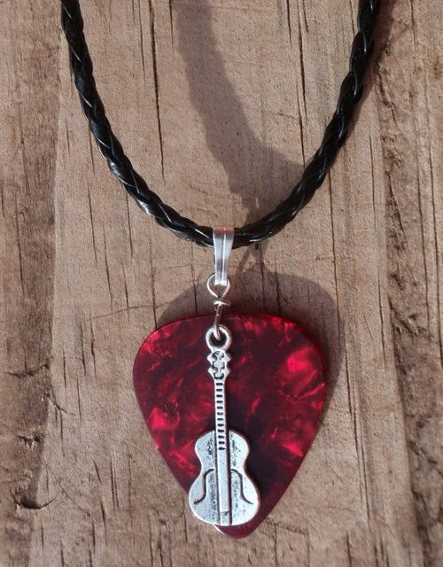 Violin necklace music guitar pick jewelry tibetan silver braid violin necklace music guitar pick jewelry tibetan silver braid bail custom color size musical instrument fiddle acoustic guitar chain aloadofball Image collections