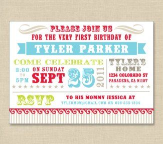 Vintage Circus Birthday Invitation World Traveler Baby Shower