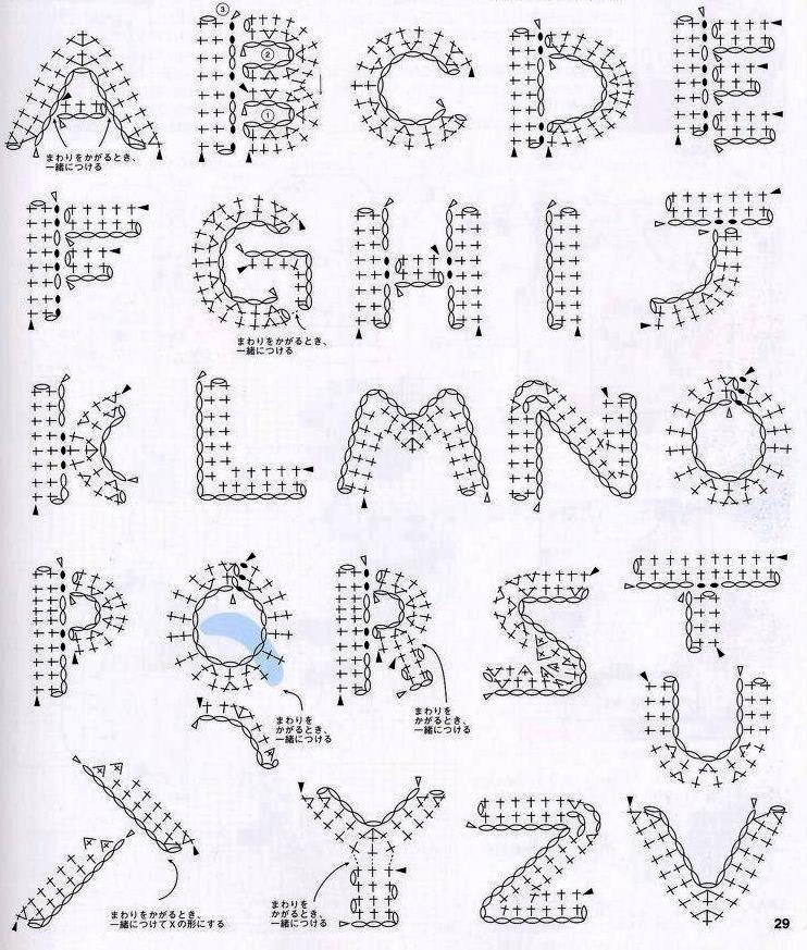 Solo esquemas y diseños de crochet: ABECEDARIO TEJIDO … | Crochet ...