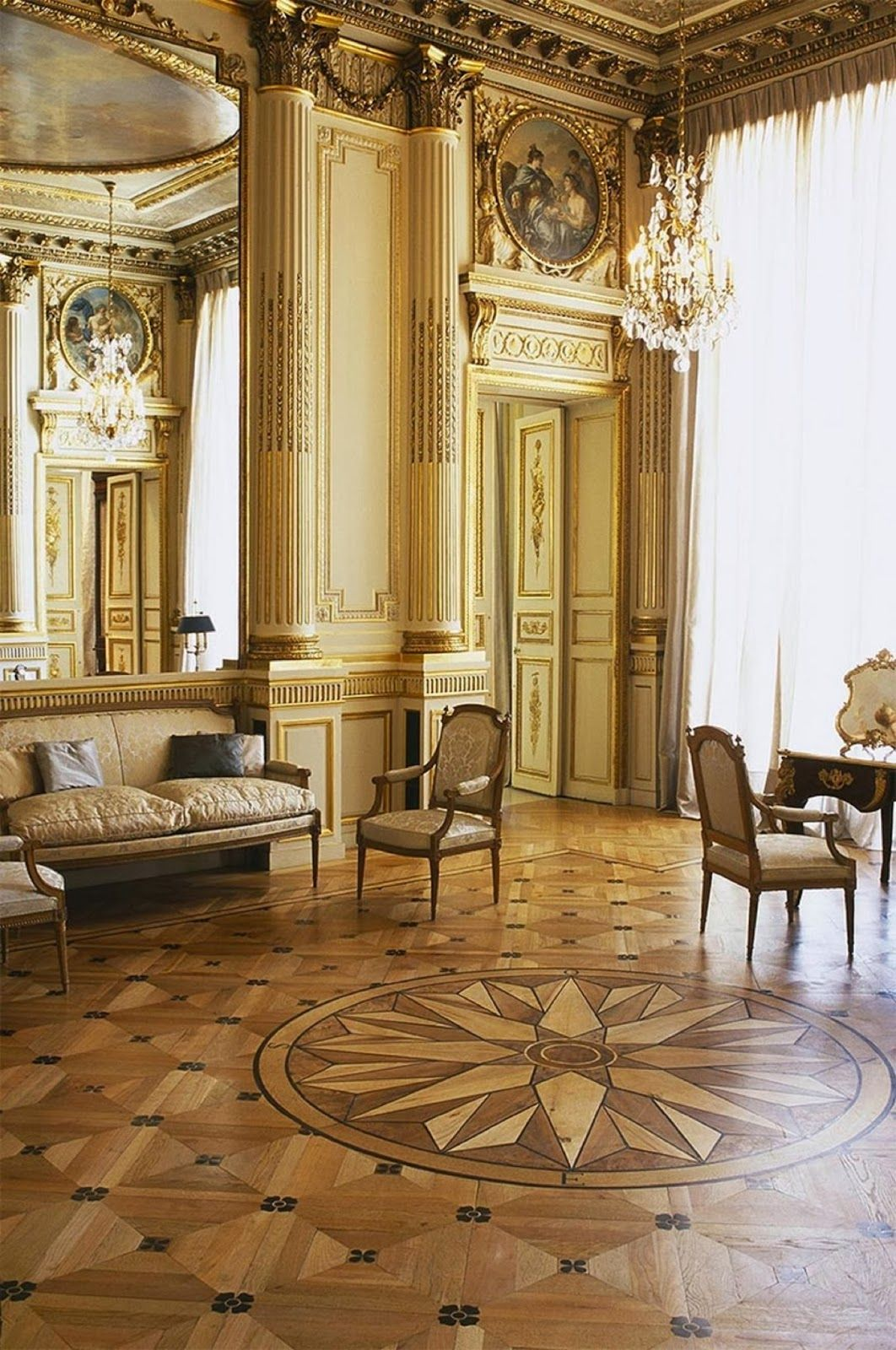 Floor With Inlaid Wood Design Such Craftsmanship Chaumer Priate