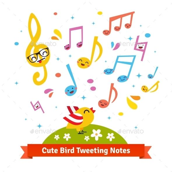 Bird Tweeting And Singing Cartoon Musical Notes Happy Cartoon Cute Wallpapers Quotes Musicals