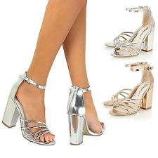 93582189b79 Womens Ladies Sandals Mid Block Chunky High Heel Ankle Strap Strappy ...
