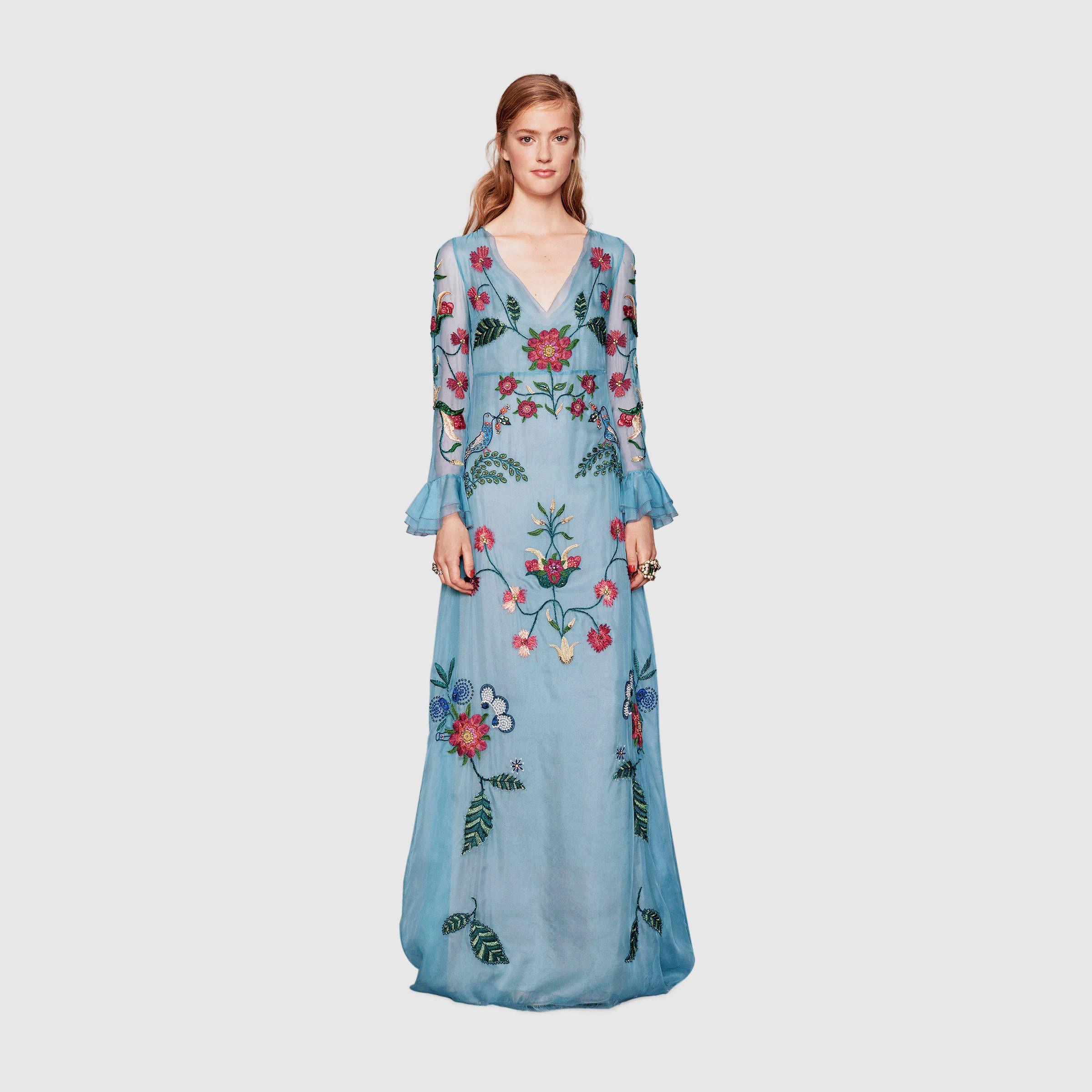 Gucci Women - Silk organza embroidered gown - 409450ZGZ314971 | My ...
