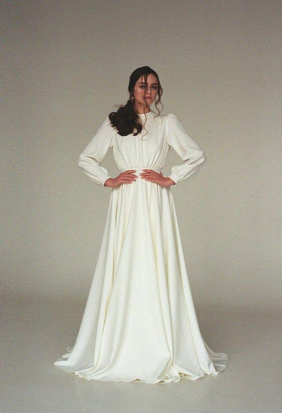 Langarm Brautkleid Modest Boho Brautkleid Minimalist   Etsy   – عروسی مهسا
