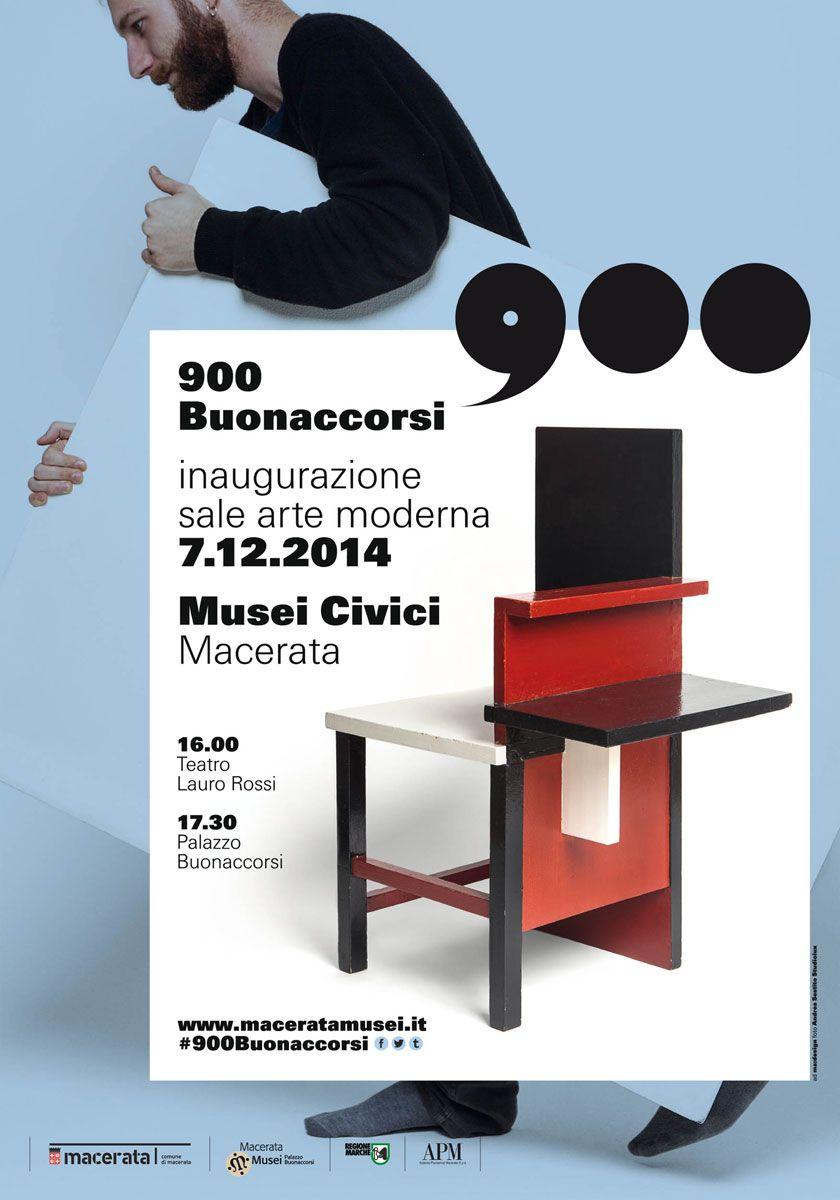 Manifesto 70x100 della campagna #900Buonaccorsi a cura di ma:design per l'apertura delle Sale #Arte Moderna di #PalazzoBuonaccorsi, il 7 dicembre 2014 a #Macerata.