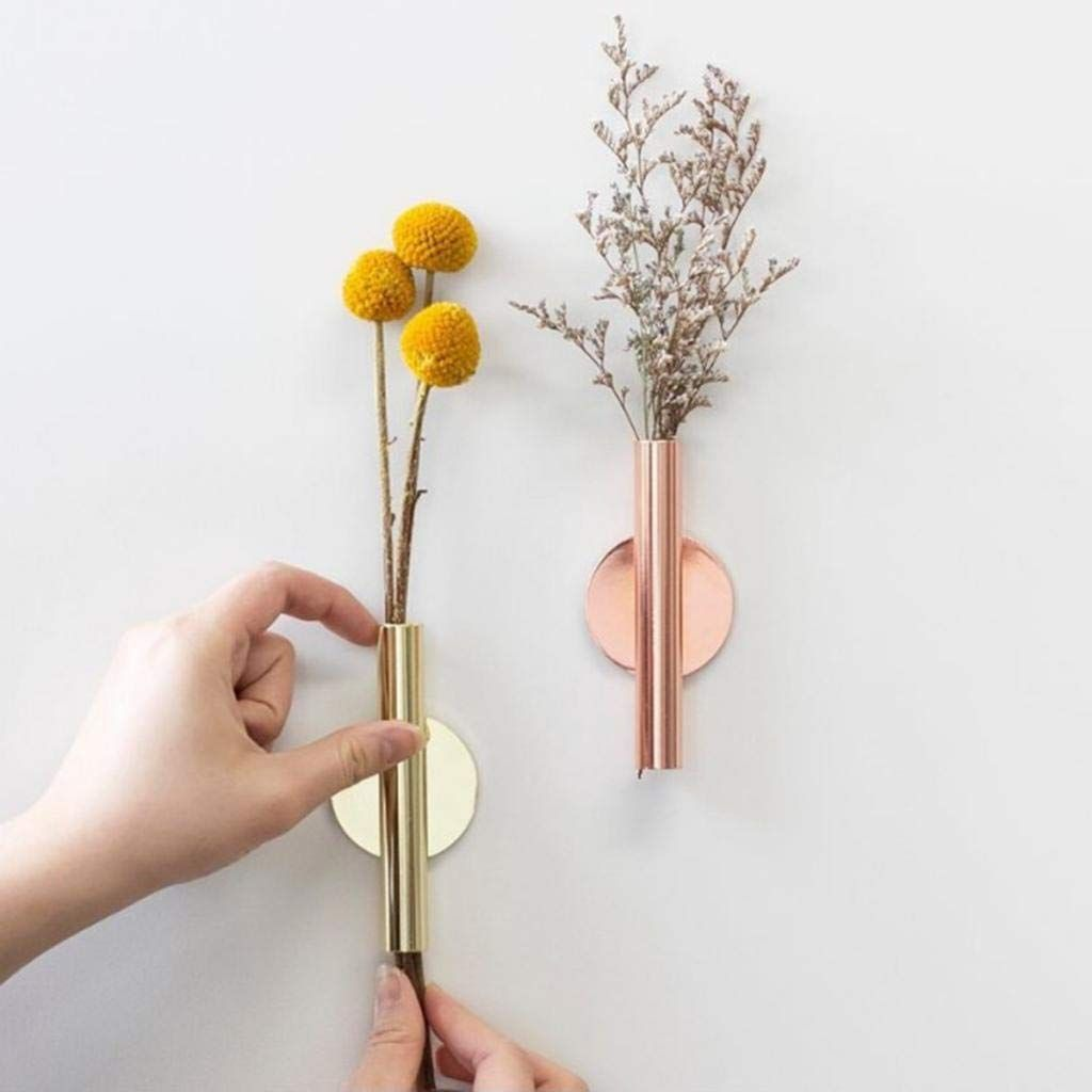 Flameer In Outdoor Hanging Plant Holder Wall Decor Metal Vase Flower Pot Holder Tube Gold 5x2x11cm Amazon Ca Home In 2020 Wall Mounted Vase Wall Vase Flower Vases