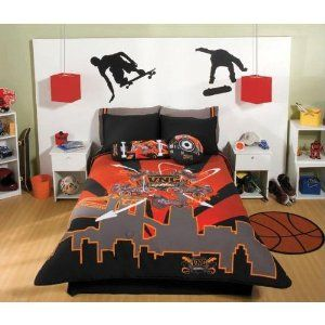 boy inspirational girl bedroom teen colorful red twin kids little comforter bed bedding