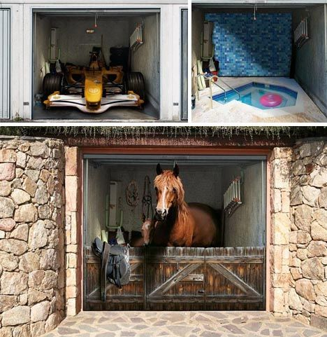 These 3D murals are great to camouflage your ugly garage door. Too bad my  condominium