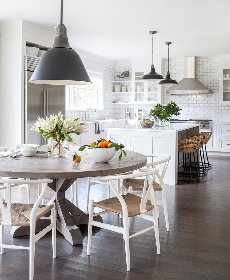 To balance out the glossy all white kitchen
