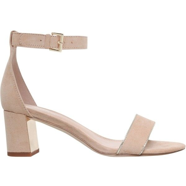 Carvela Gospel Block Heeled Sandals , Nude Suede ($120) ❤ liked ...