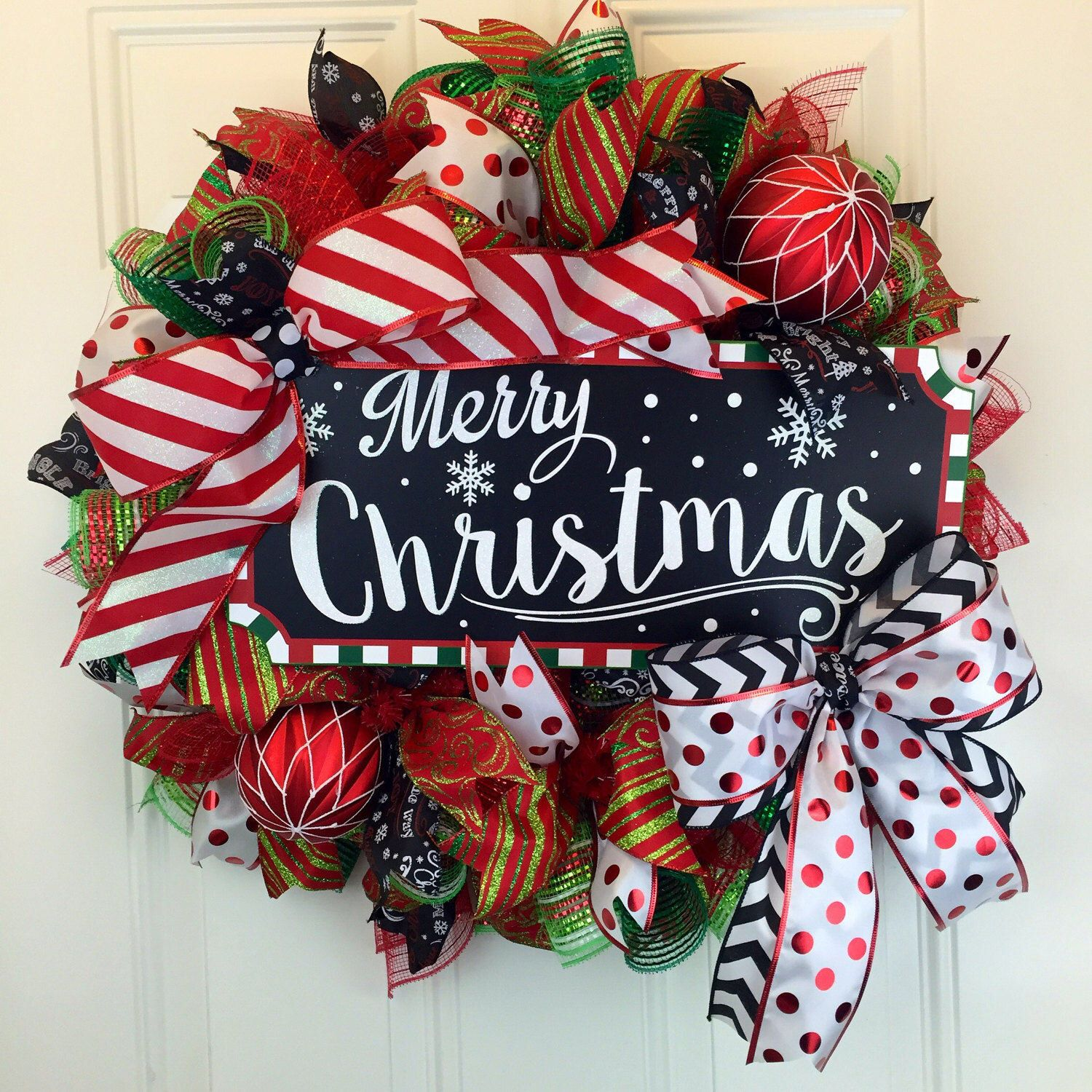 Deco Mesh Christmas Wreath Red white and black Christams wreath