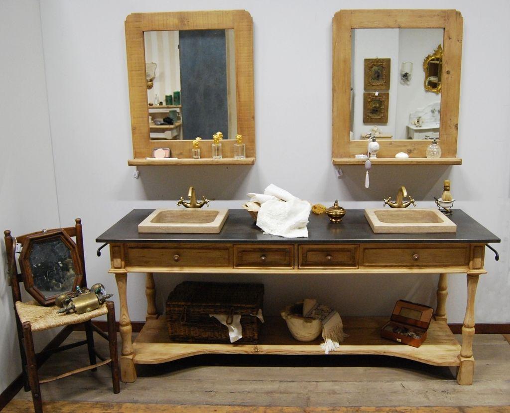 Fabulous mobile da bagno in stile provenzale realizzato in abete antico decapato color tortora - Bagni completi in offerta ...
