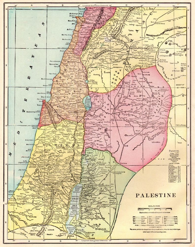 1911 Antique PALESTINE Map Gallery Wall Art Original Map of ...
