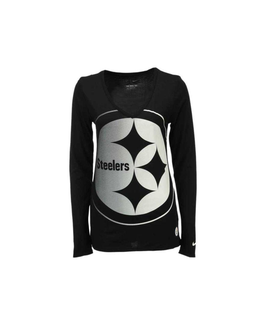 Nike Women s Long-Sleeve Pittsburgh Steelers Logo Wrap T-Shirt ... 0f5d817d9d