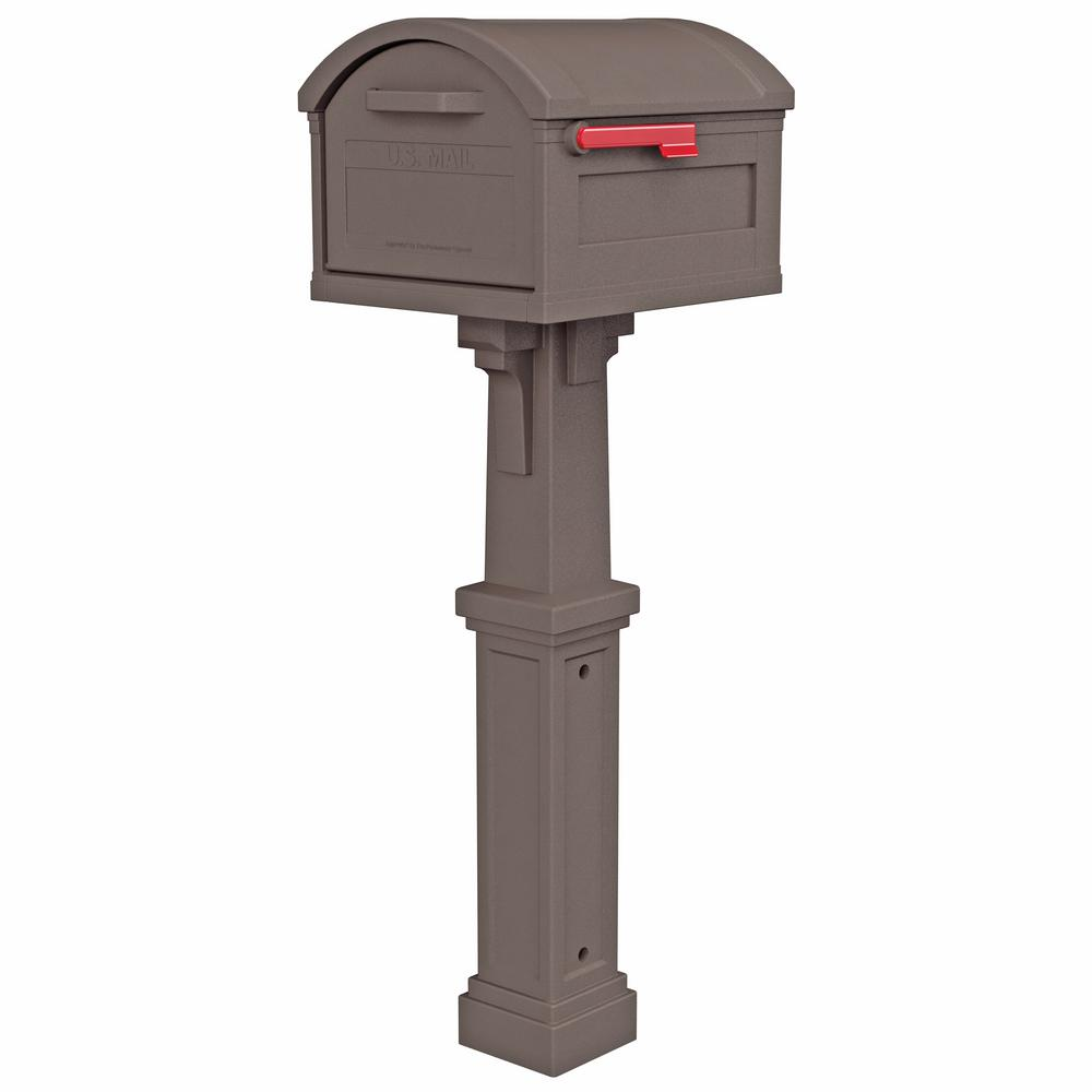Gibraltar Mailboxes Grand Haven Mocha Plastic All In One Mailbox