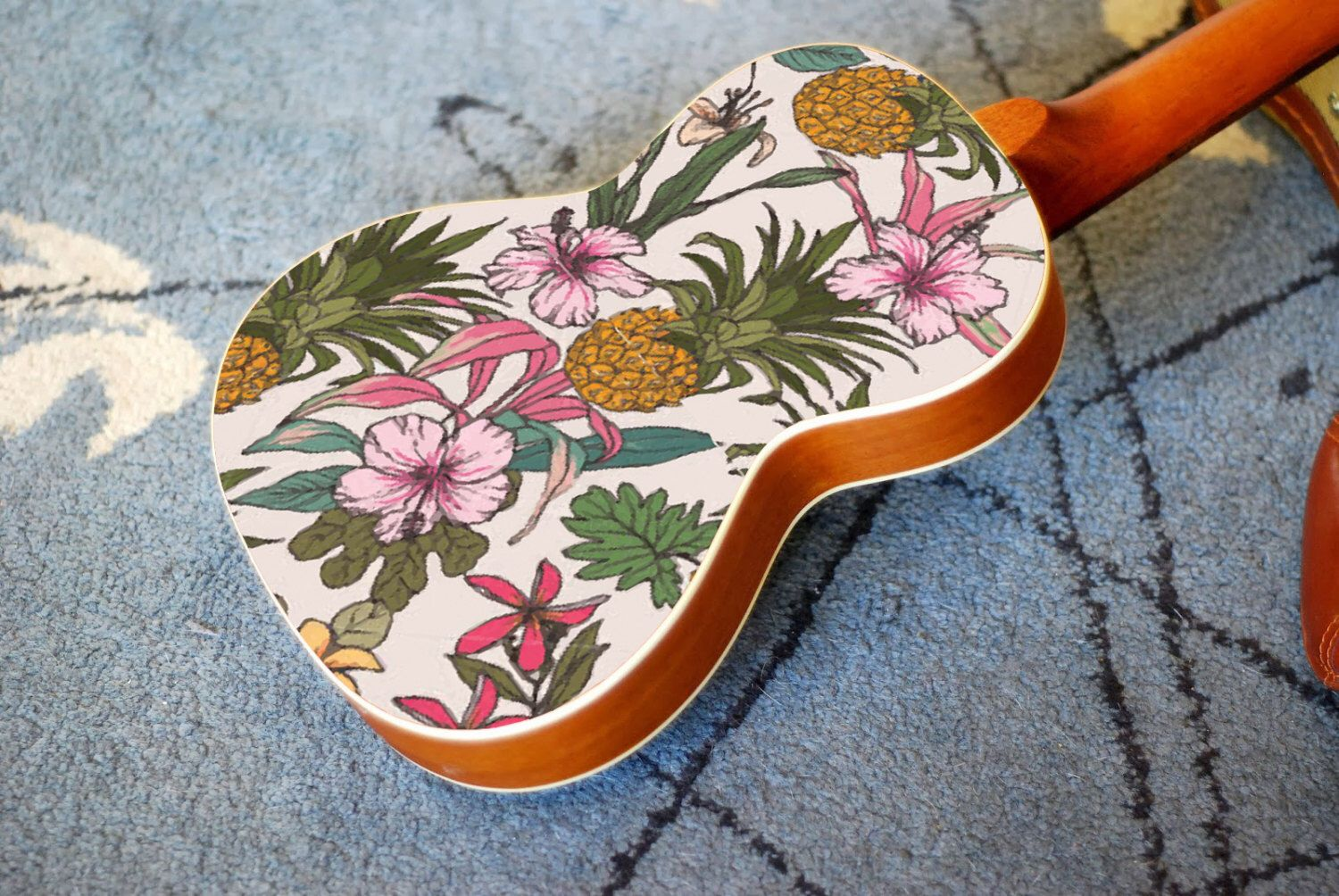 Ukulele Decal Of Vintage Flower And Pineapple Hawaiian