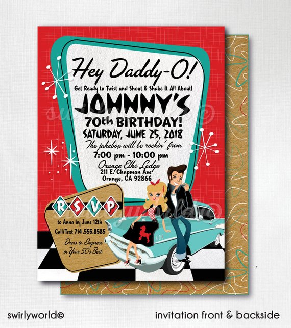 Rock Around The Clock 50/'s Party CORJL Poodle Skirt 50s Party 50s Rockabilly Invites Retro 1950s Birthday Party Grease Pink Ladies Theme