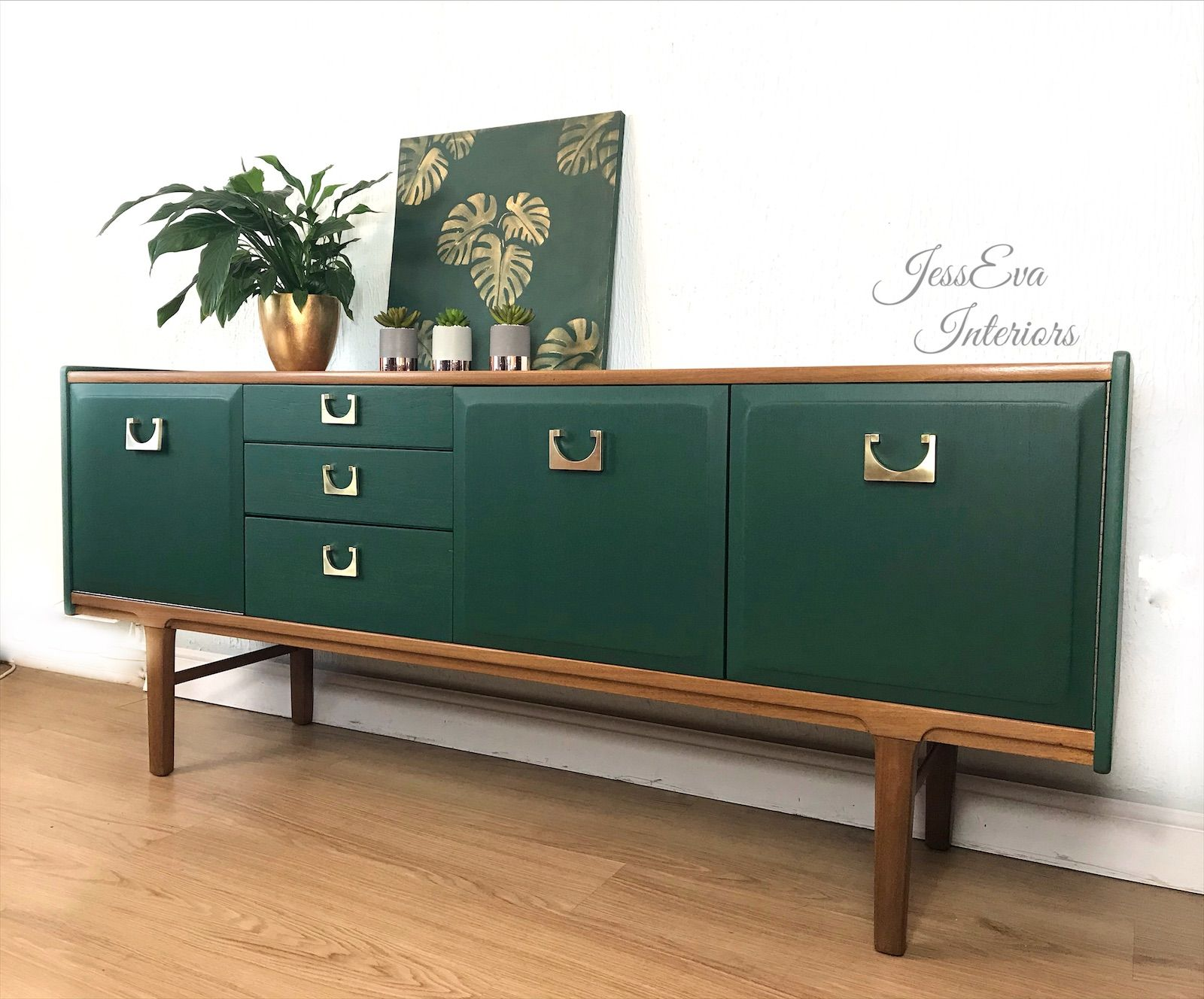 Mid Century Modern Sideboard Painted In Fusion Pressed Fern In 2020 Mid Century Sideboard Mid Century Modern Sideboard Painted Sideboard