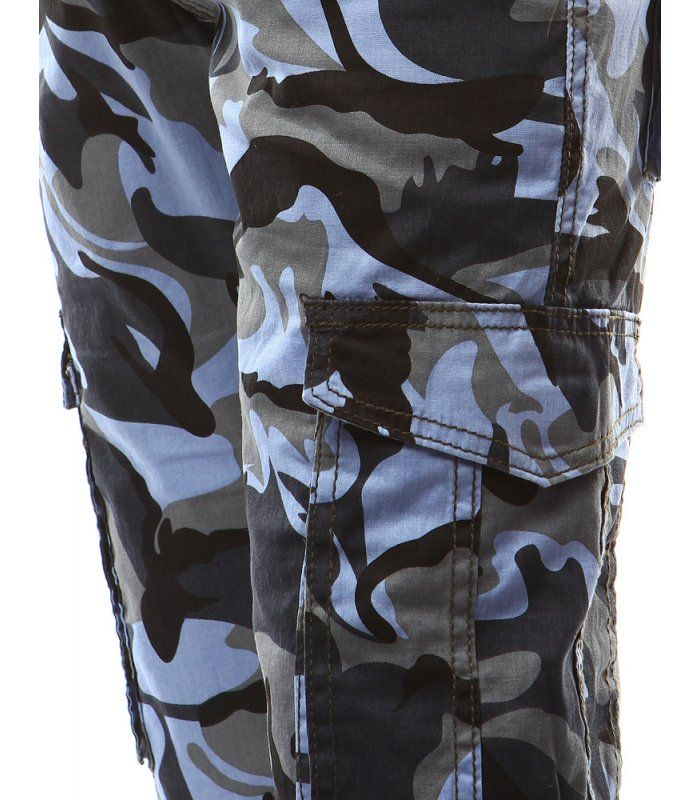Pánske maskáčové modré nohavice  91d1652d35