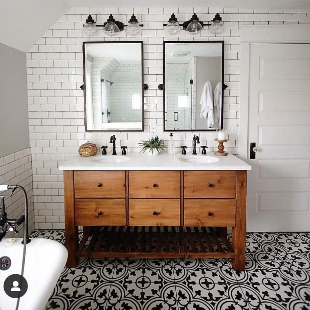 Farmhouse Is My Style On Instagram Dual Sink Vanity Floor To Ceiling Subway Tile In 2020 Double Sink Vanity Decor Double Sink Bathroom Vanity Master Bathroom Vanity