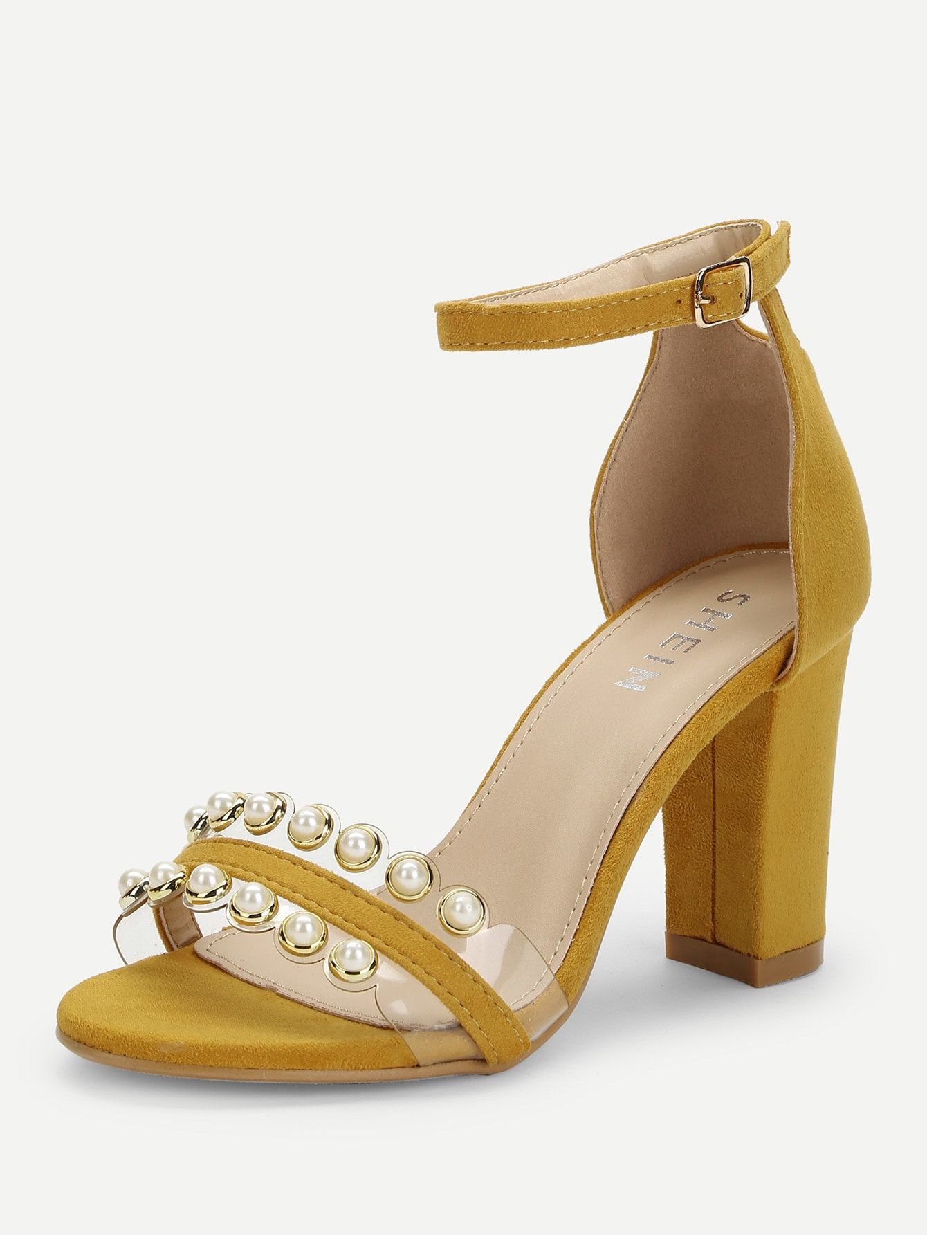 2d62a5c19 Elegant Open Toe Ankle strap Ginger High Heel Chunky Faux Pearl Two Part  Block Heeled Sandals