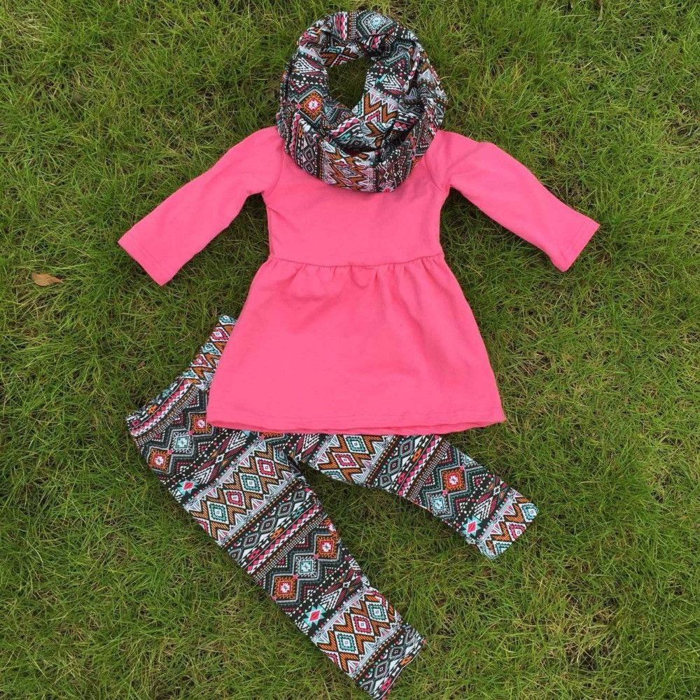 2-7t FALL Winter kids OUTFITS 3 pieces scarf pant sets girls Hot sell Aztec boutique  clothes kids hot pink top sets 766768d17e1c