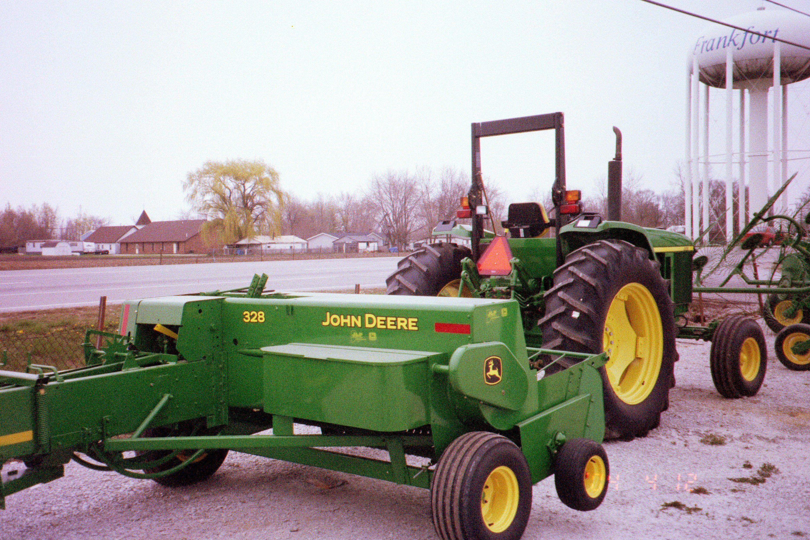 John Deere 6603 towing 328 square baler | JD Farm Equip-my