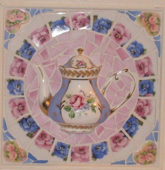 Blue n pink pansies n roses shabby chic 3D teapot mosaic wall art. $98.00, via Etsy.