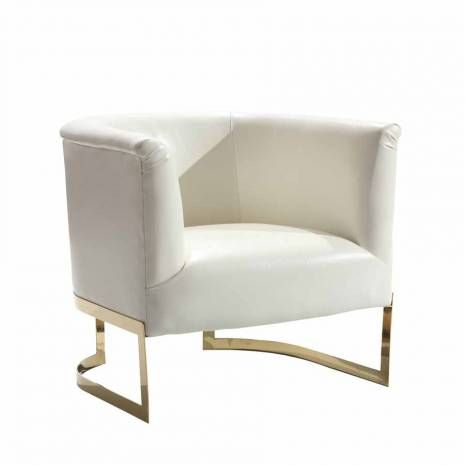 White Bonded Leather Modern Accent Chair Gold Metal Frame