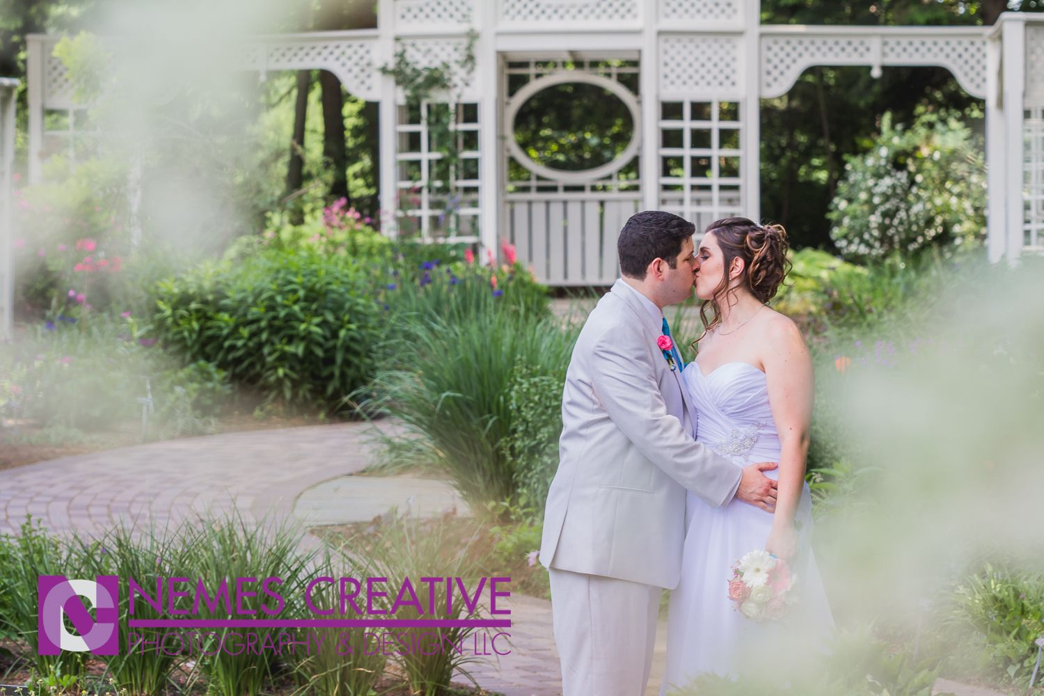 outdoor wedding ceremony sites in akron ohio%0A Alyssa  u     Ryan Granitto share a sweet moment after their wedding ceremony in  the rose garden