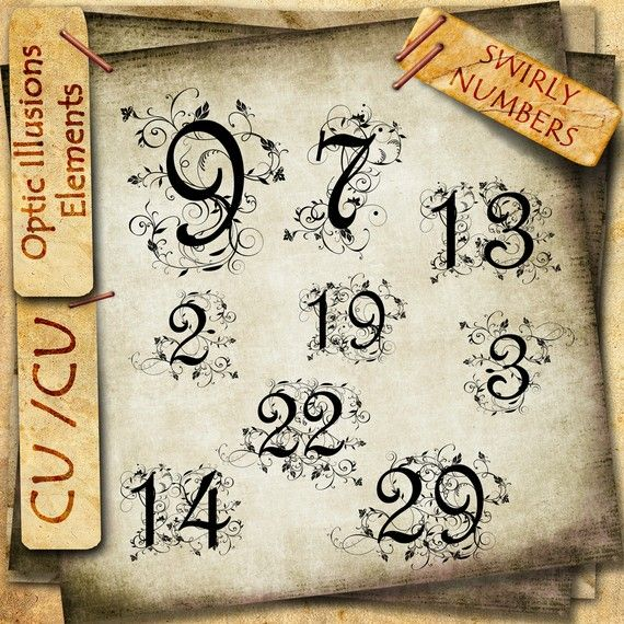 Swirly fancy numbers table numbers commercial use for Number 7 tattoo gallery