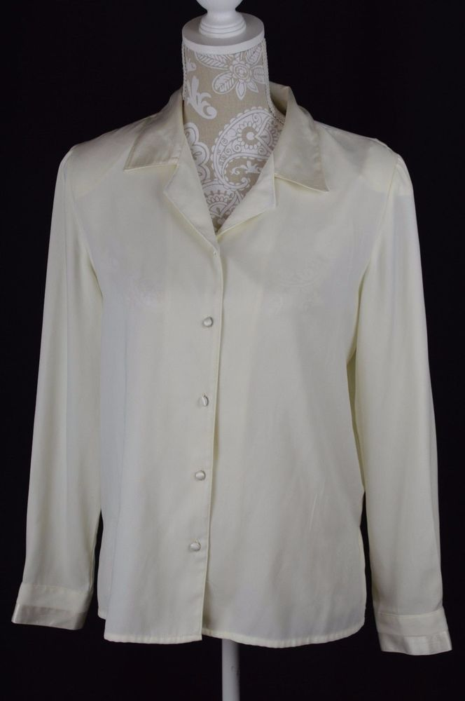 Vintage Cream Off White Button Down Blouse Long Sleeve Top by Jaclyn Smith Extra Large Only 6 USD