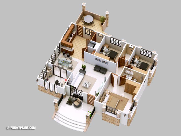 Three Bedroom Bungalow House Design Amazing Architecture Magazine Bungalow Floor Plans Bungalow House Plans Bungalow House Design