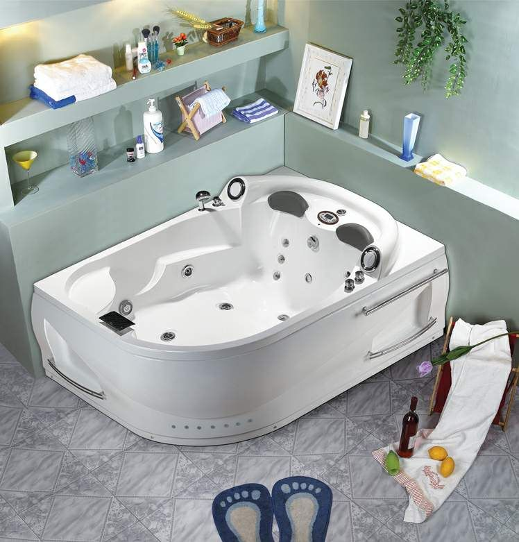 2 PERSON BATHTUB CORNER Whirlpool Jacuzzi Tub SPA Therapy Massage ...