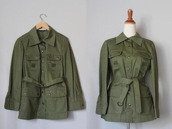 vintage 1960s belted MILITARY GREEN field by ScottieinaCanoe
