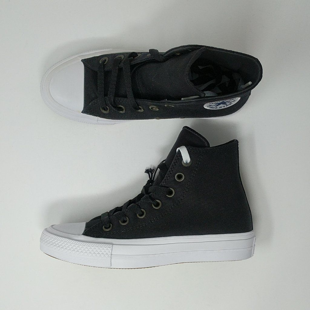 Converse Chuck Taylor All Star II 2 Hi Shoes New Black White