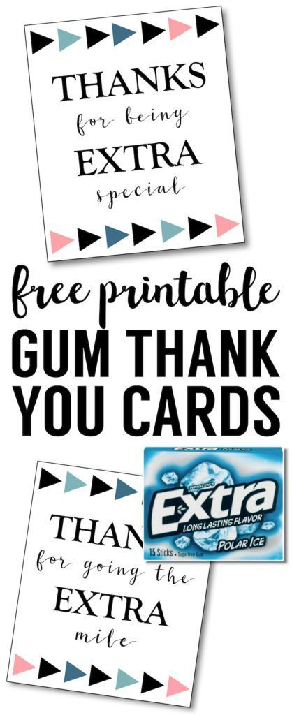photograph relating to Extra Gum Teacher Appreciation Printable named More Gum Thank Your self Printable Do it yourself Present Guidelines Further gum